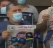 القيادي احمد المدلل صورة من المؤتمر الصحفي امام مقر وزارة الاسرى بمدينة غزة