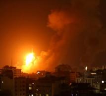 الطيران الحربي الإسرائيلي يقصف موقع اليرموك التابع للمقاومة الفلسطينية شرق مدينة غزة