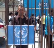وقفة احتجاجية لجمعية واعد أمام الأمم المتحدة غرب مدينة غزة بعد23يوما من الاضراب الثلاثاء9/5/2017
