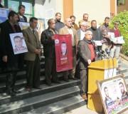 نادي الاعلاميين الفلسطينين تنظم وقفة تضامنية مع الاسرى في الجامعة الاسلامية